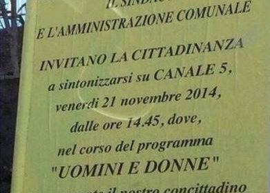 """San Giuseppe Vesuviano e il manifesto per """"Uomini e Donne"""""""