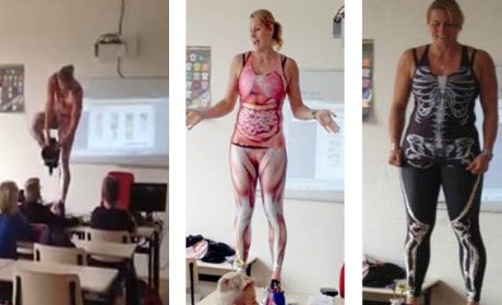 Maestra si spoglia per insegnare anatomia con una tutina