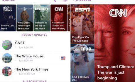 Aggiornamento SnapChat, contenuti in stile magazine