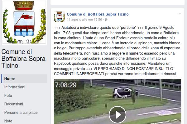 Boffalora Sopra Ticino. Cane abbandonato, sindaco posta video su Facebook